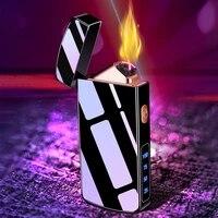 double arc lighter usb lighter flameless plasma electric smoking feuerzeug cool aansteker accessories gadgets for boyfriend