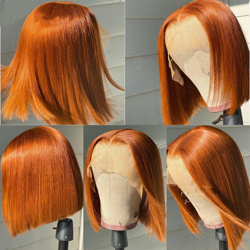 Orange Ginger Blunt Cut Summer Human Hair Lace Front Wigs Blunt Bob Cut Orange Preplucked Lace Frontal Wigs 180 Density