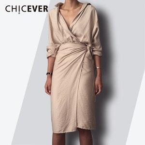 CHICEVER 2020 Spring Fashion Women Dress Sexy V Neck Slim Hem Split Casual Temperament Bandage Dresses Female Clothes New