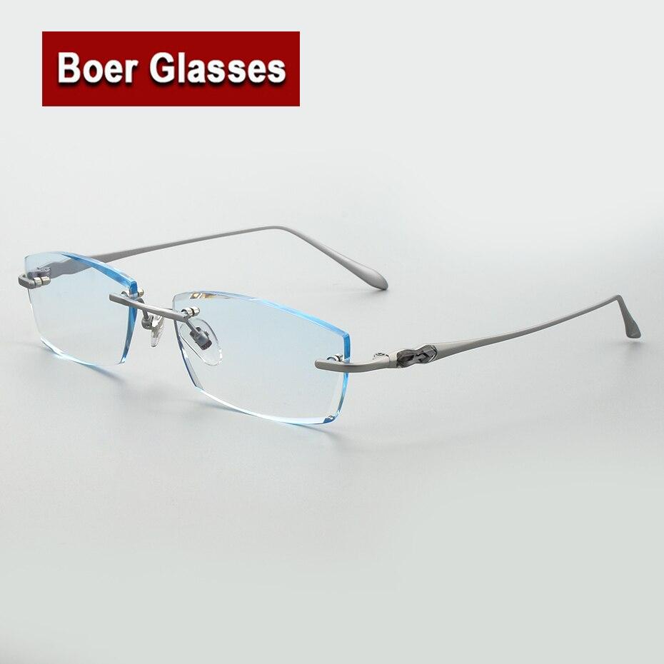 الرجال التيتانيوم بدون شفة النظارات قاطع ماسي عدسات ملونة RXable النظارات الإطار 105