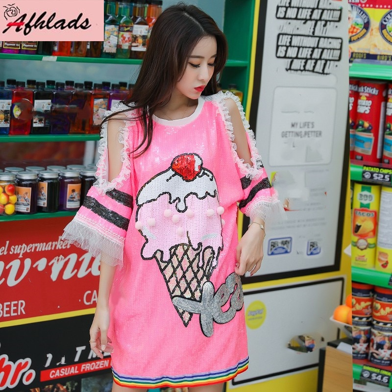 Verano dibujos animados lentejuelas Chic de gran tamaño suelta Casual camiseta femenina de manga corta Coreano impreso lentejuelas de talla grande camiseta Tops