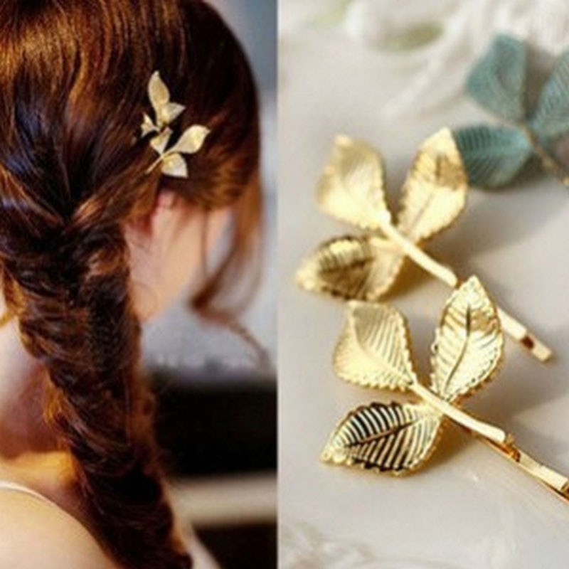 Hot New Fashion Wedding Hair Accessories Olive Branches Leaves Beautiful Bride Hairpin Side Folder J