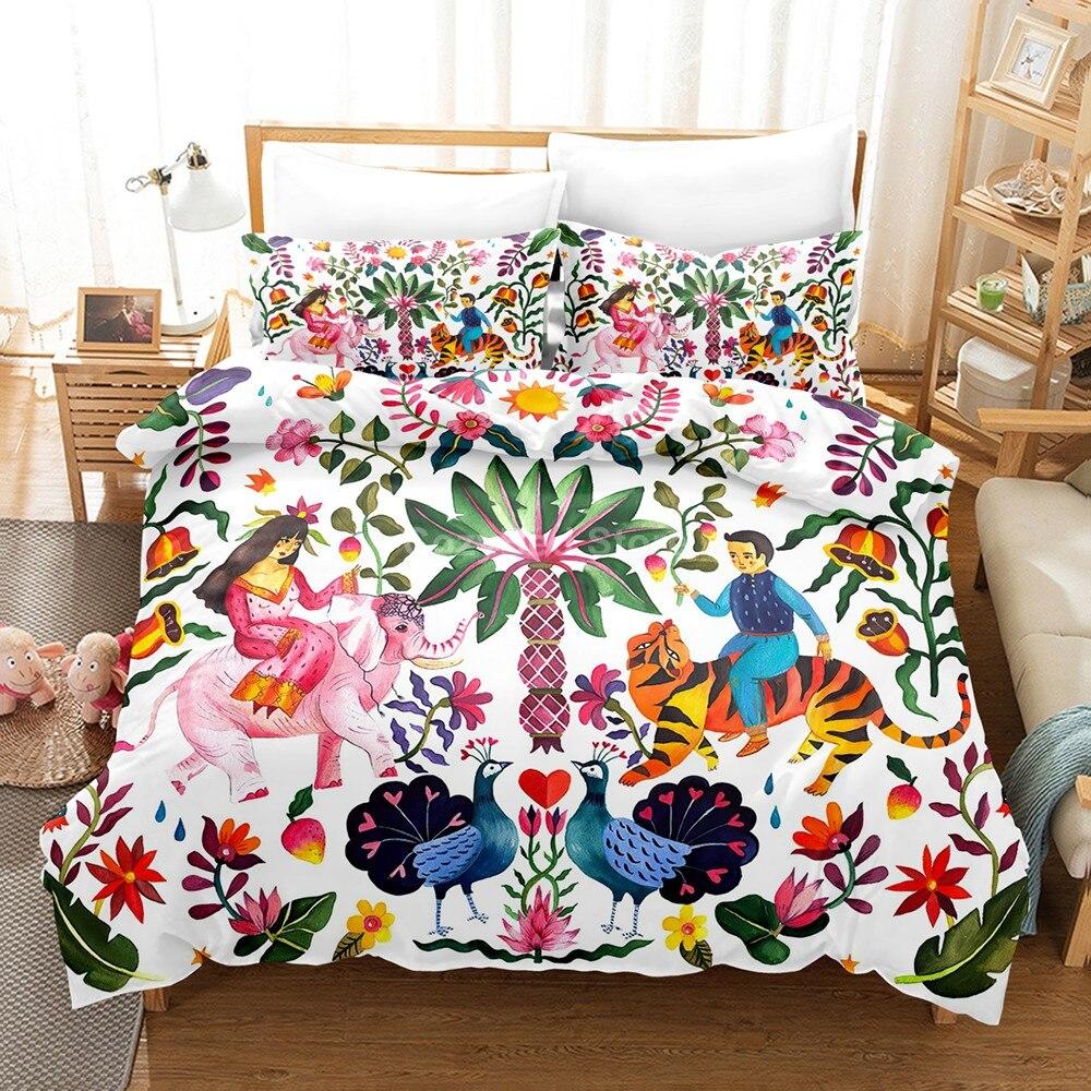 الخيال الزهور طقم سرير الموضة الملونة ثلاثية الأبعاد حاف طقم أغطية المعزي أغطية سرير التوأم الملكة الملك حجم واحد الفاخرة هدية