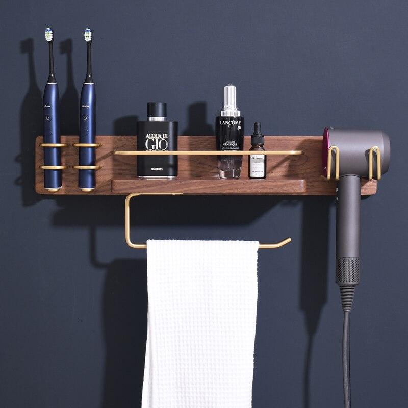 رف حمام من الخشب الصلب ، حامل فرشاة أسنان كهربائي ، متعدد الوظائف ، مثبت على الحائط بدون ثقب ، خشب الجوز الأسود
