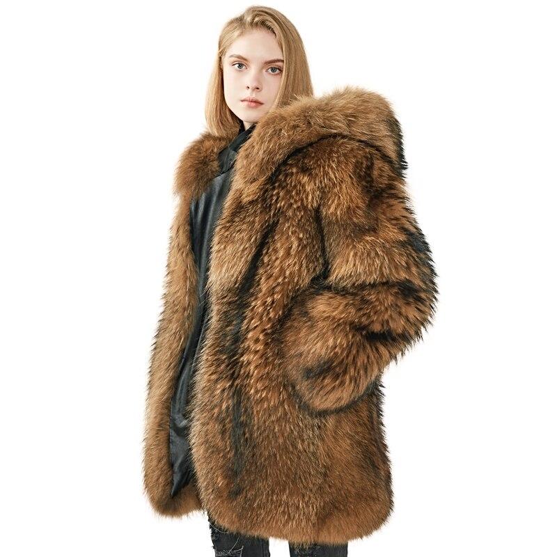 معطف شتوي بغطاء للرأس للنساء ، فرو راكون سميك ، نمط جديد ، معطف فرو دافئ عالي الجودة