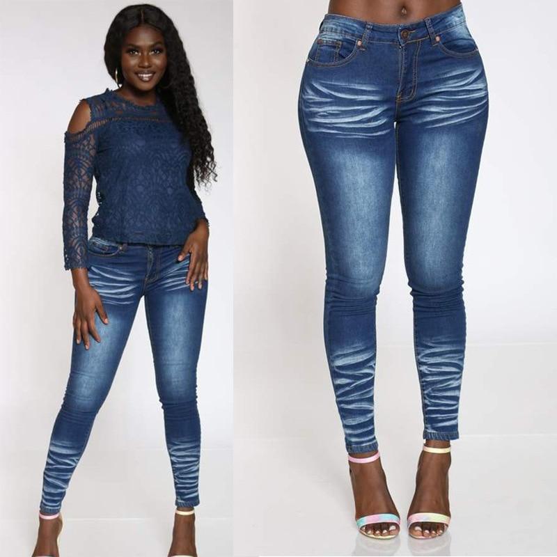 Женские эластичные джинсы в стиле High Street, модные отбеленные женские брюки-карандаш, винтажные джинсовые брюки, женские брюки