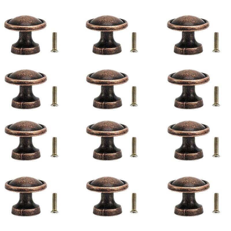Pomos de cobre Vintage de 25Mm, tiradores de tirador de puerta de cocina de cajón de armario redondo antiguo (paquete de 12)