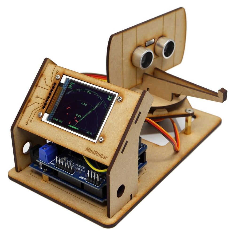 Arduino Mini Robot de detección de Radar con Radar ultrasónico Tft Lcd fabricante de pantalla proyecto de código abierto DIY STEM Progarm Kit de juguete