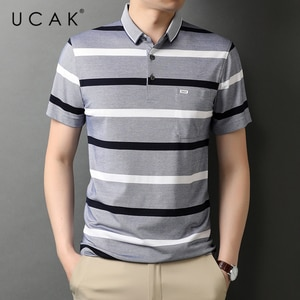UCAK Brand Classic Turn-down Collar Cotton T Shirt Men Clothes Summer New Fashion Tops Streetwear Casual Soft Tshirt Homme U5475