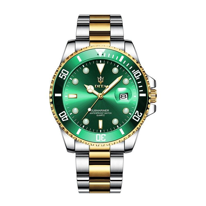 ديتا الأخضر المياه شبح الكلاسيكية السويسرية ساعة الاستبداد الرجال ساعة كوارتز موضة الأعمال مضيئة مقاوم للماء ساعة