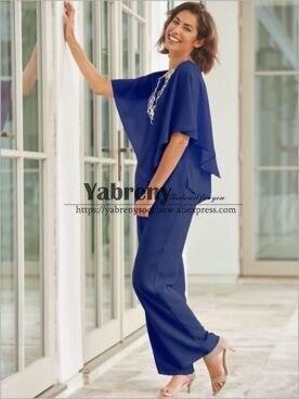 Mãe da Noiva Azul Real Chiffon Pantsuits 2pc