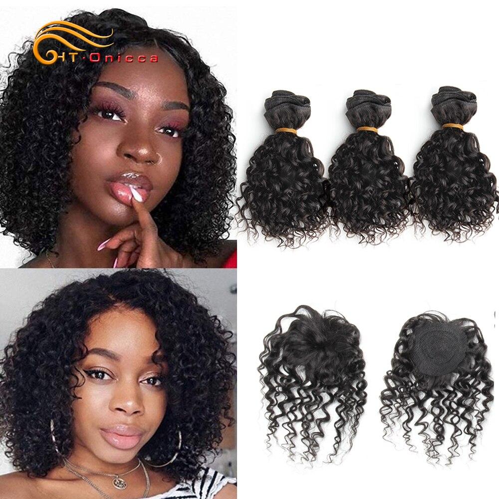 Fasci ricci crespi e chiusura estensioni naturali dei capelli umani onda profonda capelli brasiliani onda del corpo 3 fasci con chiusura