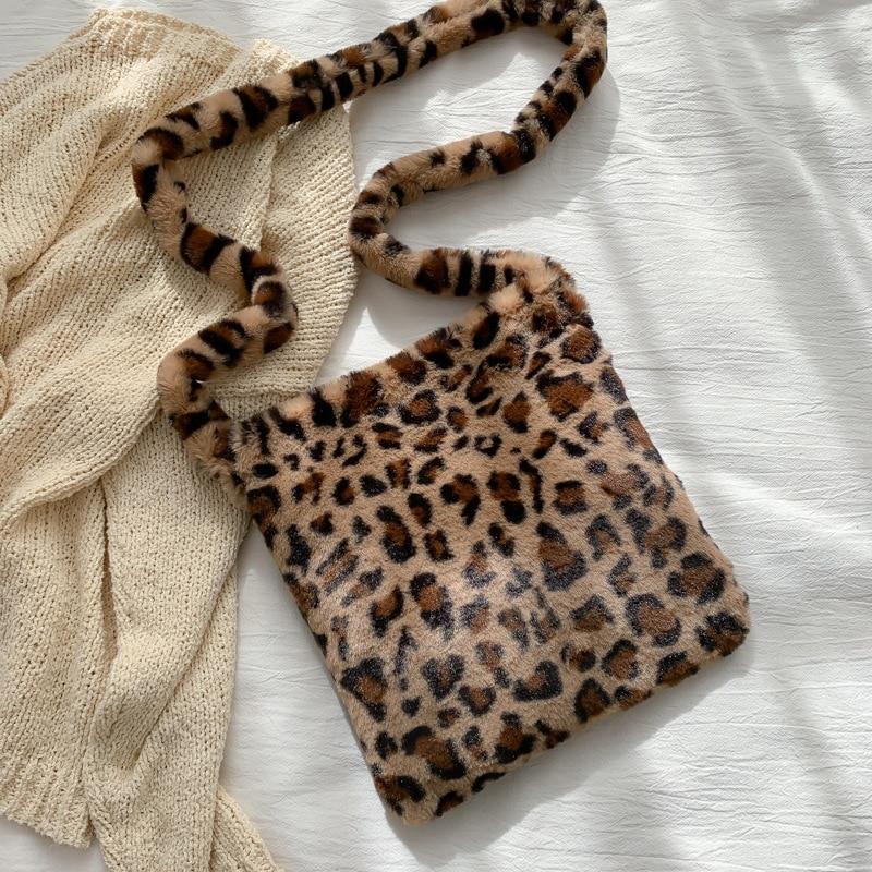 Fashion Leopard Print Crossbody Bags for Women Autumn Winter Plush Soft Shoulder Messenger Bags Ladies Fluffy Handbag and Purse
