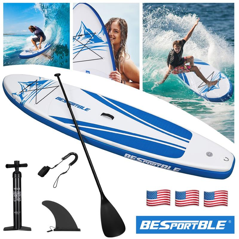 New 120Inch Inflatable Stand Up Paddle Board Surfboard Inflatable Green Paddle Board Bonus Manual Pump Ankle Leash Repair Kit