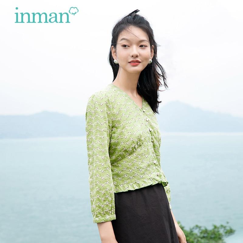 INMAN المرأة بلوزة خضراء أنيقة السببية القطن الستر قميص الدانتيل الخامس الرقبة جوفاء مطرزة كشكش تنحنح طويلة الأكمام الإناث أعلى