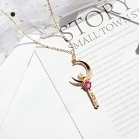 new personality cute crescent fairy stick pendant necklace for ladies fashion austrian red crystal inlaid pendant accessories