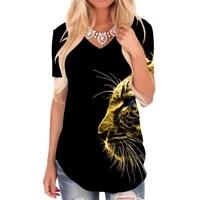 giyu brand tiger t shirt women cheetah t shirts 3d animal shirt print harajuku v neck tshirt womens clothing hip hop loose