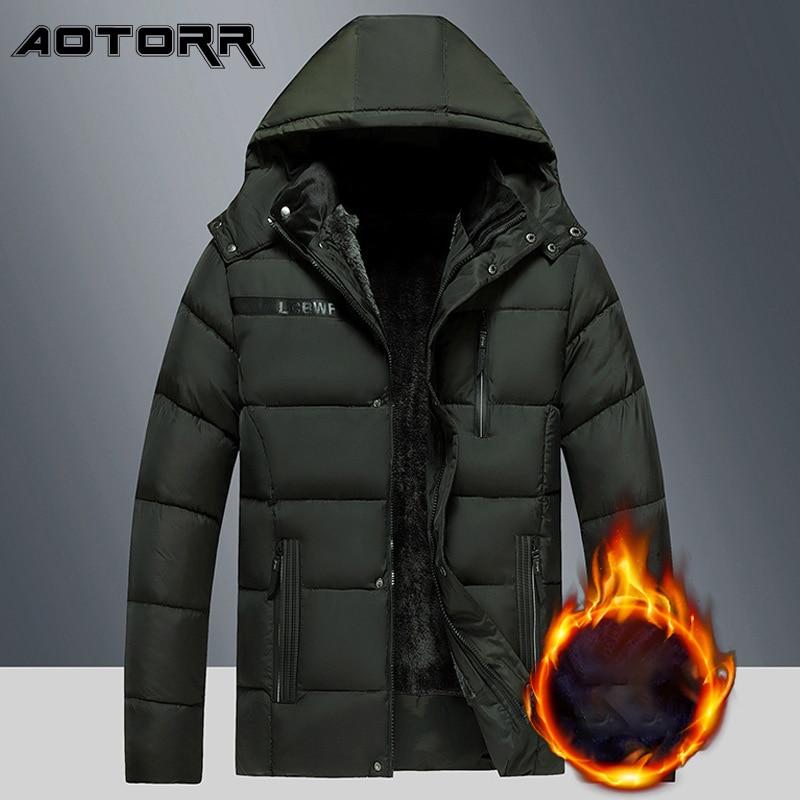 2021 Thick Warm Winter Parka Men Fleece Hooded Men Jacket Waterproof Coat Mens Fashion Casual Parkas