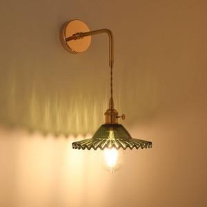 LED Simple Art Transparent Glass Wall Lamp Nordic Copper Bedroom Living Room Corridor Study E27  Decorative Lighting Fixtures