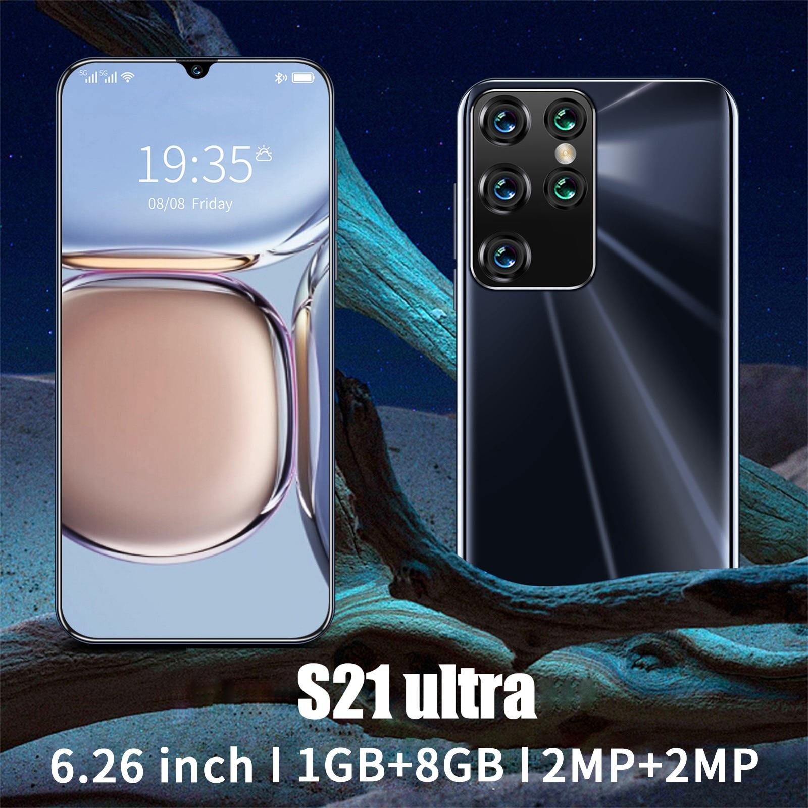 S21 الترا الهاتف الذكي أندرويد 6.26 بوصة 1G RAM + 8G ROM كامل الشاشة خمسة الخلفية HD كاميرا الهاتف الذكي 1532*720 القرار