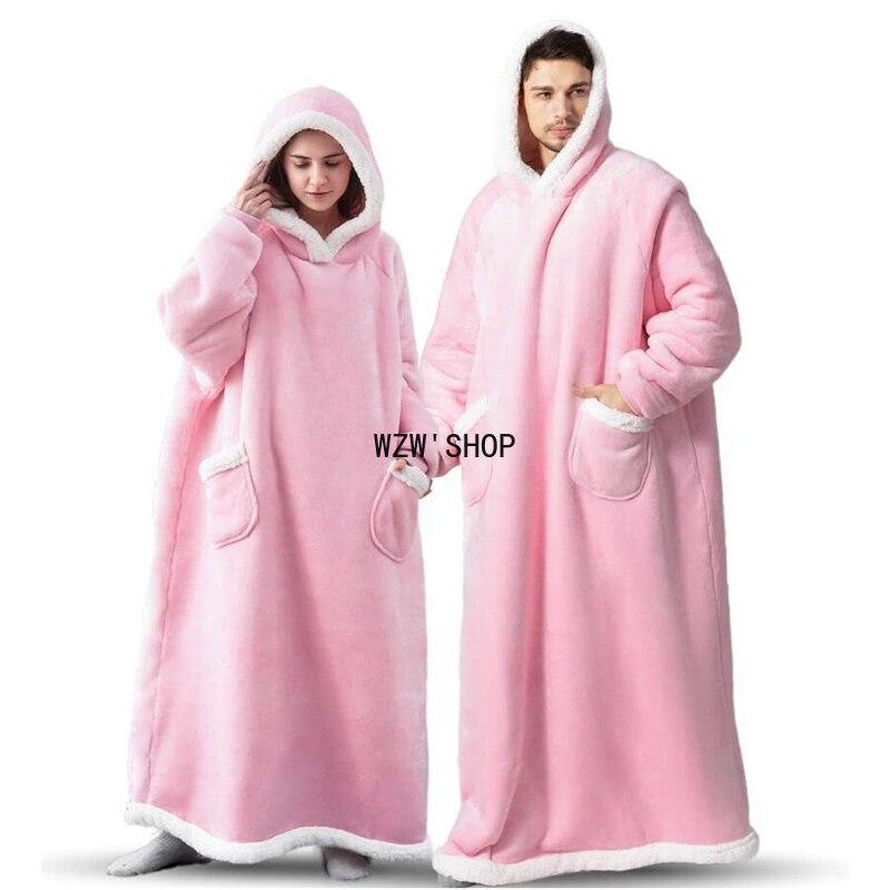 Winter Warm Women Long TV Hooded Blanket Sofa Cozy Plaid Pocket Fleece Adults Kids Bathrobe Oversized Outwear Free shipping