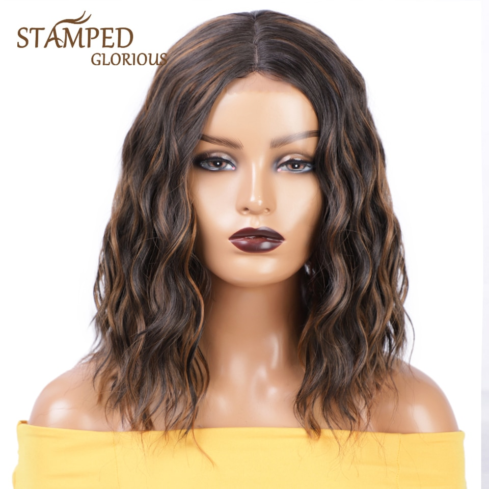 Stamped Glorious 14 Inch Synthetic Wigs Middle Part Mixed Black Color and Brown Natural Wave Synthetic Short Wig for Black Women