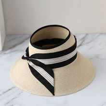 Women Ultrabraid Wide Brim Straw Visor Hat Striped Bowknot Summer Cap Ladies Foldable Straw Sun Hats Ponytail Summer Beach Hat