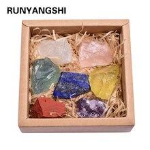 7 couleurs ensemble cristal grand grain pierre brute sept Chakra Yoga Chakra irrégulier Reiki guérison cristaux pierre