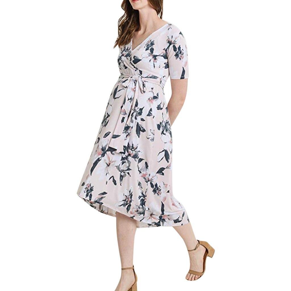 Kyle Keith Women's Casual Maternity Maxi Dress V Wrap Baby Shower Pregnancy Dresses Vestido Embarazada enlarge