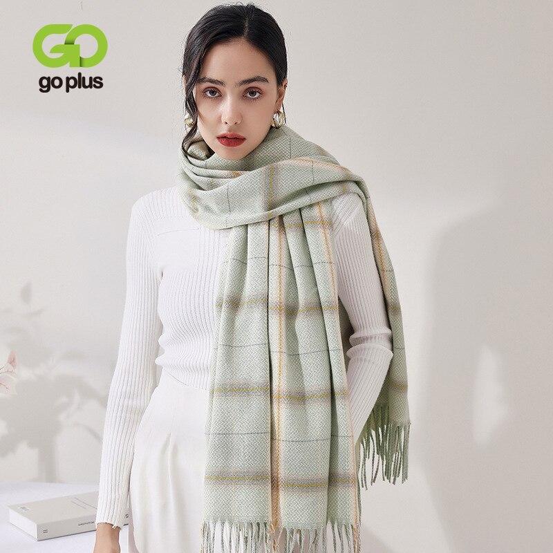 шарфы trussardi шарф Шарф GOPLUS, женские клетчатые шарфы, корейский модный сохраняющий тепло шарф из пашмины, шарфы, зимние шарфы, женский платок C11262