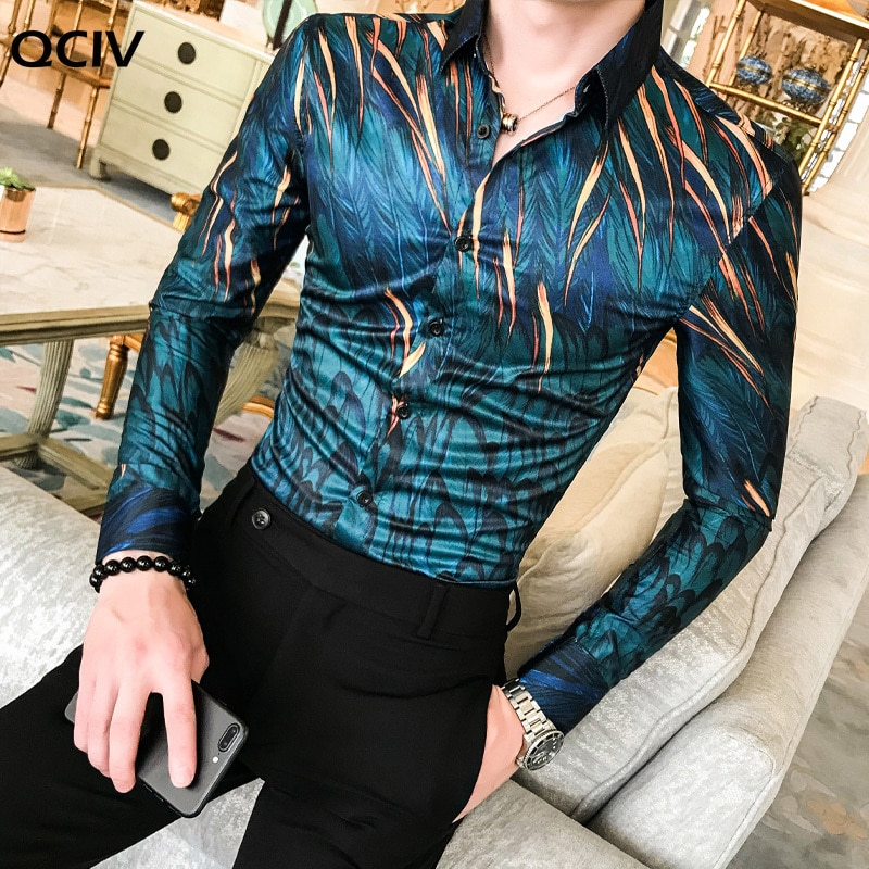 High Quality Men Floral Shirt New Long-Sleeved Tuxedo Slim Shirt Fashion Mens Designer Retro Printed Shirt Camisa Masculina