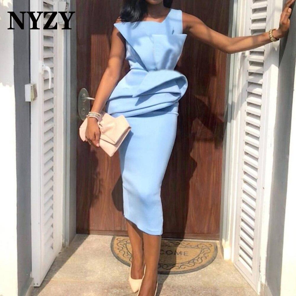 NYZY-فستان كوكتيل ساتان أنيق C301 ، فستان سهرة أزرق سماوي ، لحفلات التخرج