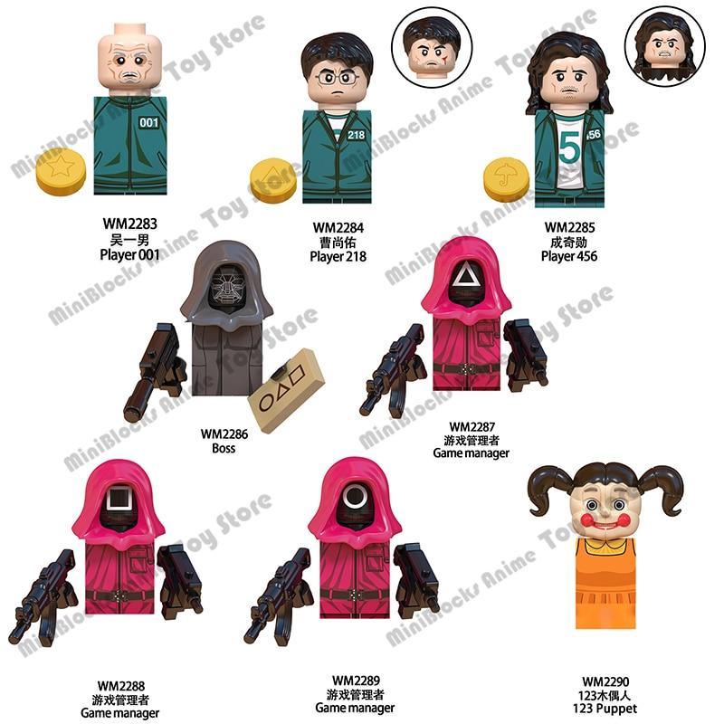 WM6131 Лидер продаж, игра кальмар, строительные блоки, кирпичи, мини-фигурки героев, серии головок, Обучающие Детские сборные игрушки, подарки н...