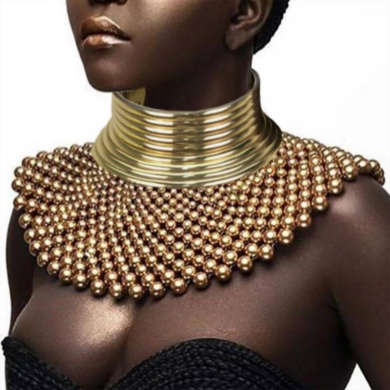 2 قطع مجموعة مريلة Torques طوق المختنق بيان القلائد للنساء هندسية الهندي الأفريقي مجوهرات بوهو تصميم UKMOC