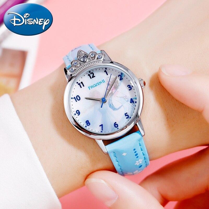 Frozen Ⅱ Girl Gift Beautiful Kids Clock Brave Elsa Disney Princess Luxury Jewelry Crown Waterproof Student Watches Kol Saati New