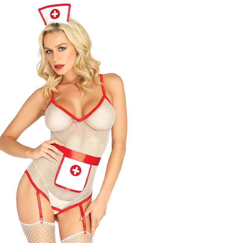 Uniforme erótica de lencería Sexy, atuendo de enfermera transparente, traje de cuerpo, entrepierna abierta, falda transparente