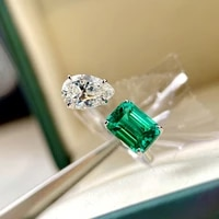 luxury new fine jewelry ring real 925 sterling silver crystal zircon emerald green open rings for women simple rings wholesale