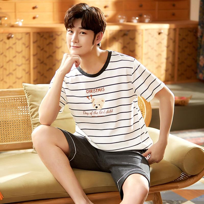 2021 Summer Men's Cotton Pajamas Letter Striped Sleepwear Cartoon Pajama Sets Casual Sleep&Lounge Py