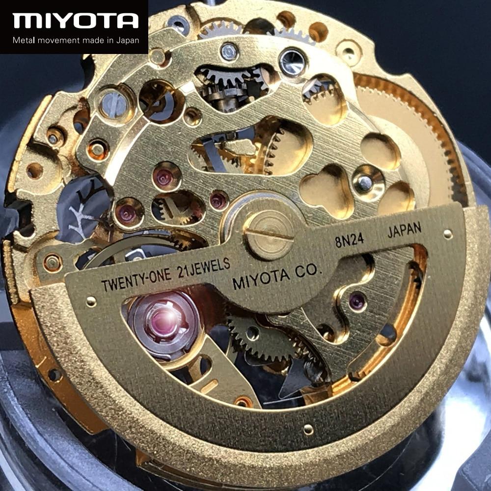 New Original Japan Miyota Golden 8N24 Skeleton Movement 21 Jewels Automatic Winding Watch Replacements enlarge
