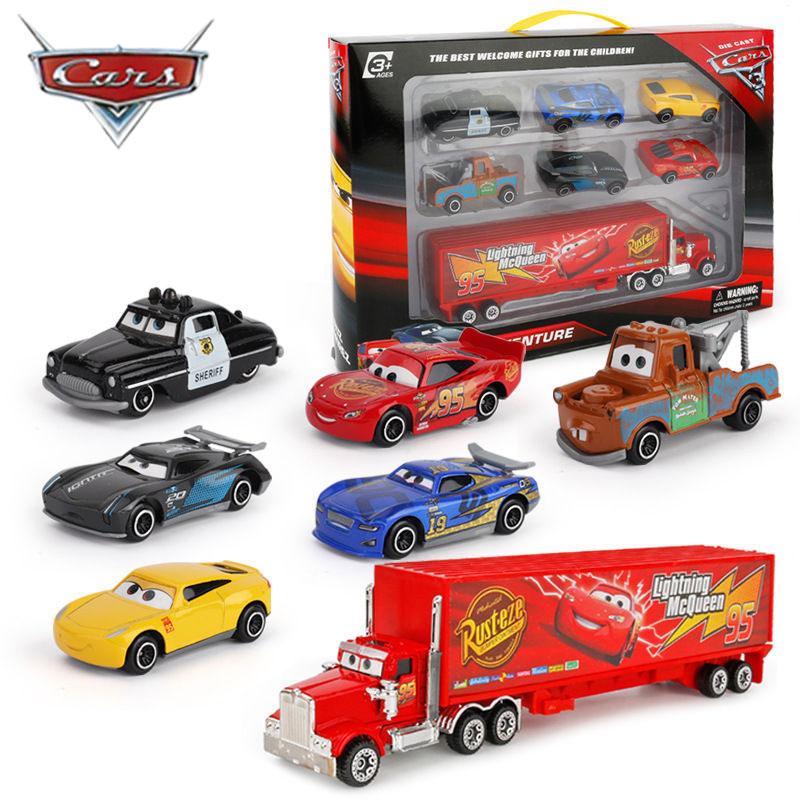 7PCS/Set Disney Pixar Car 3 Lightning McQueen Jackson Storm Mack Uncle Truck 1:55 Diecast Metal Car