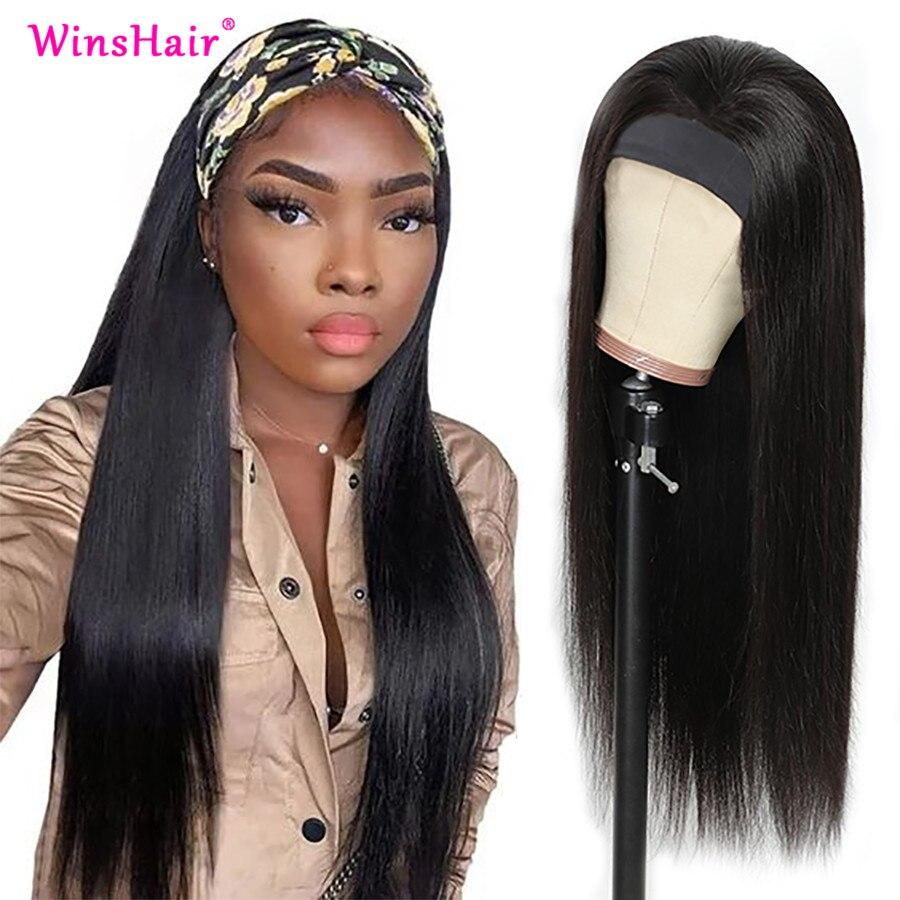 Winshair Straight Hair Wig Headband Wig Human hair Brazilian Hair Soft No Shedding 100% Good Human Hair Wigs U Part 30 Inch Wig
