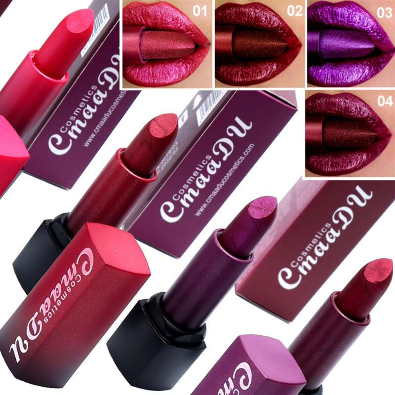 4 Colors Metal Shiny Lip Sticks Waterproof Mermaid Liquid Lipstick Diamond Matte Long Lasting Lip Gloss Makeup Cosmetics TSLM1
