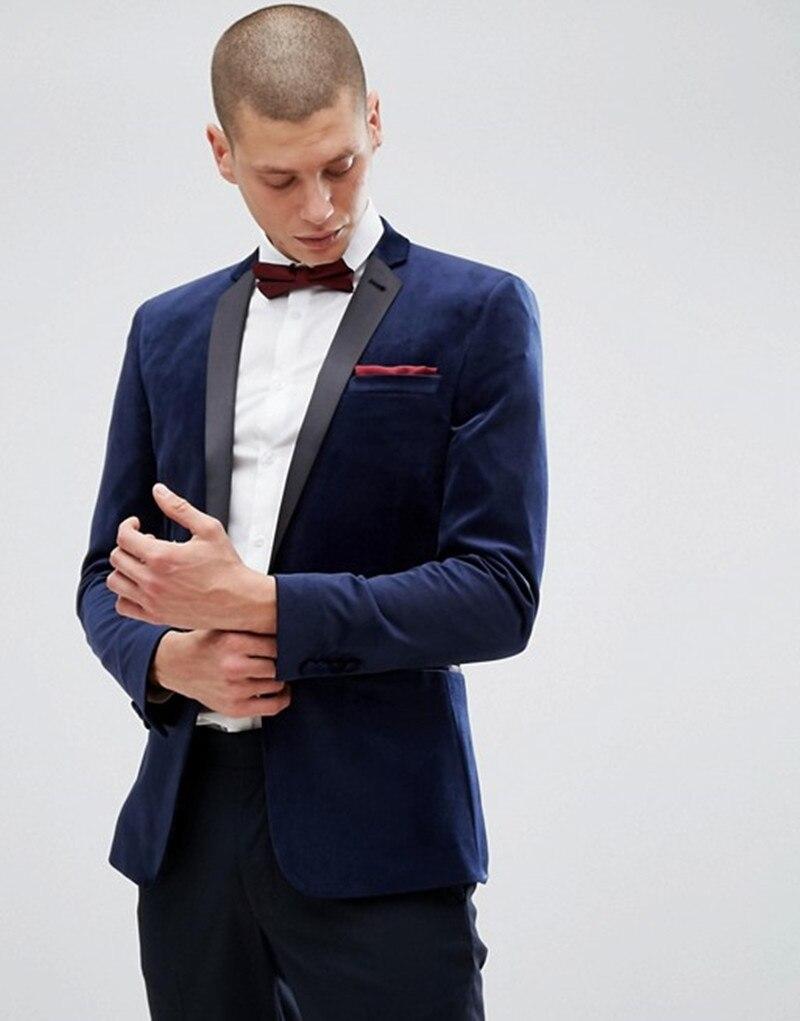 Handsome Velveteen Groomsmen Notch Lapel Groom Tuxedos  Men Suits Wedding/Prom/Dinner Best Blazer(Jacket+Pants+Tie) 089