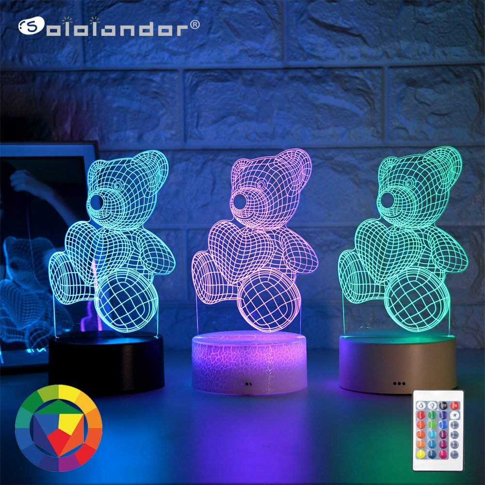 Newest Kid Light Night 3D LED Night Light Creative Table Bedside Lamp Romantic hug bear light Kids Gril Home Decoration Gift kids light night 3d led night light creative table bedside lamp unicorn light kids home decoration toys gift 3d led lamp 7 color