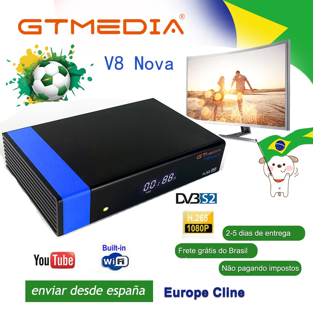 El mejor 1080P DVB-S2 GTmedia V8 Nova Receptor de TV satelital Freesat V8 Super Receptor medios GT V8 Nova con Europa Cline durante 2 años