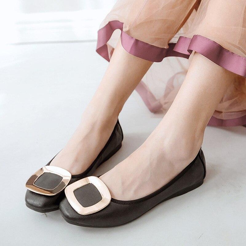 Marca de Luxo Dedo do pé Sapatos Femininos Ballet Apartamentos Mocassins Couro Casuais Mulher Quadrado Deslizamento Primavera – Outono Novo Plus Tamanho 34-43
