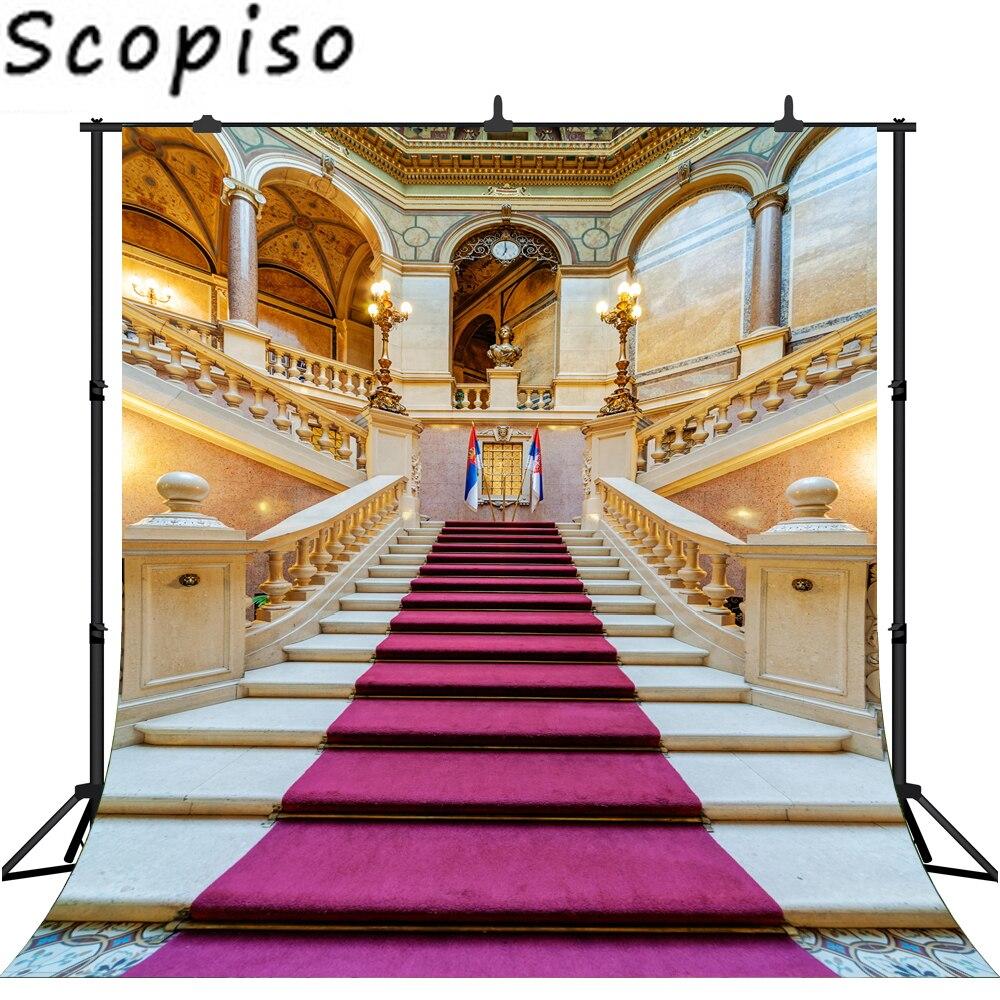 Scopiso fotografia fundo palácio tapete vermelho do vintage escada profissional casamento backdrops photobooth photo studio prop