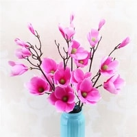 3pcs lot simulation magnolia flower faux flowers wedding home window decoration fake magnolia display silk flowers bouquet