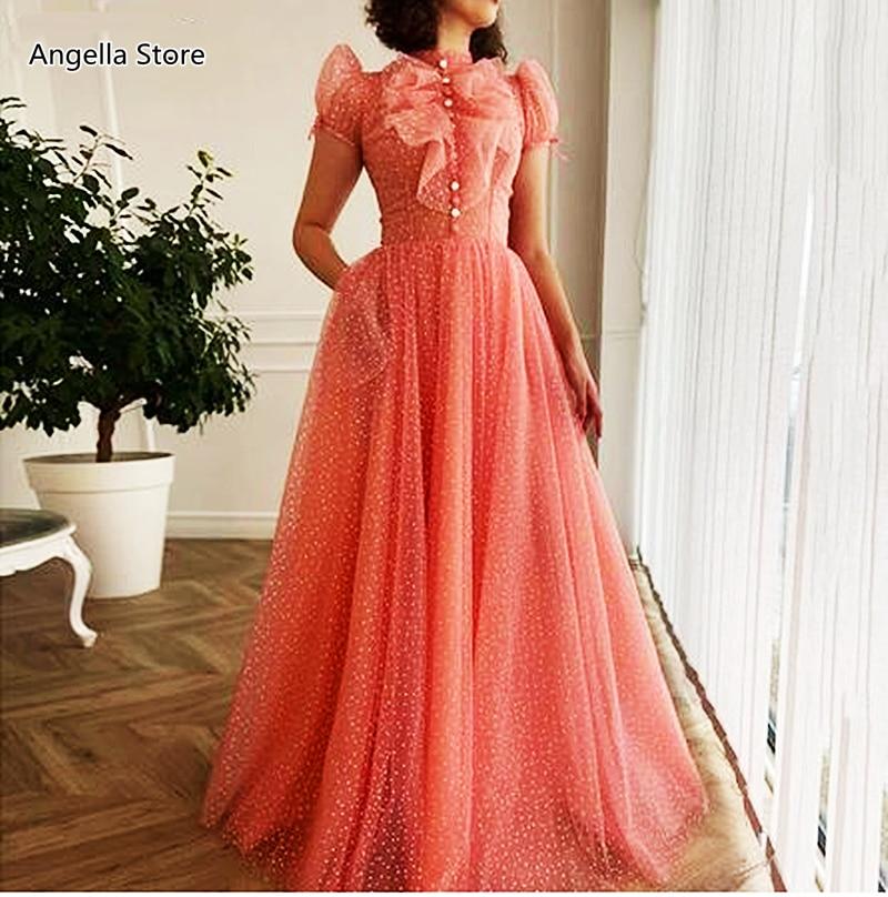 فستان سهرة طويل من التول الوردي ، منقطة ، خط a ، ياقة عالية ، كشكش ، أكمام قصيرة ، عتيق ، ملابس رسمية