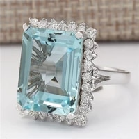 natural aquamarine gemstone bizuteria s925 sterling silver color ring for women silver 925 jewelry square invisible setting ring